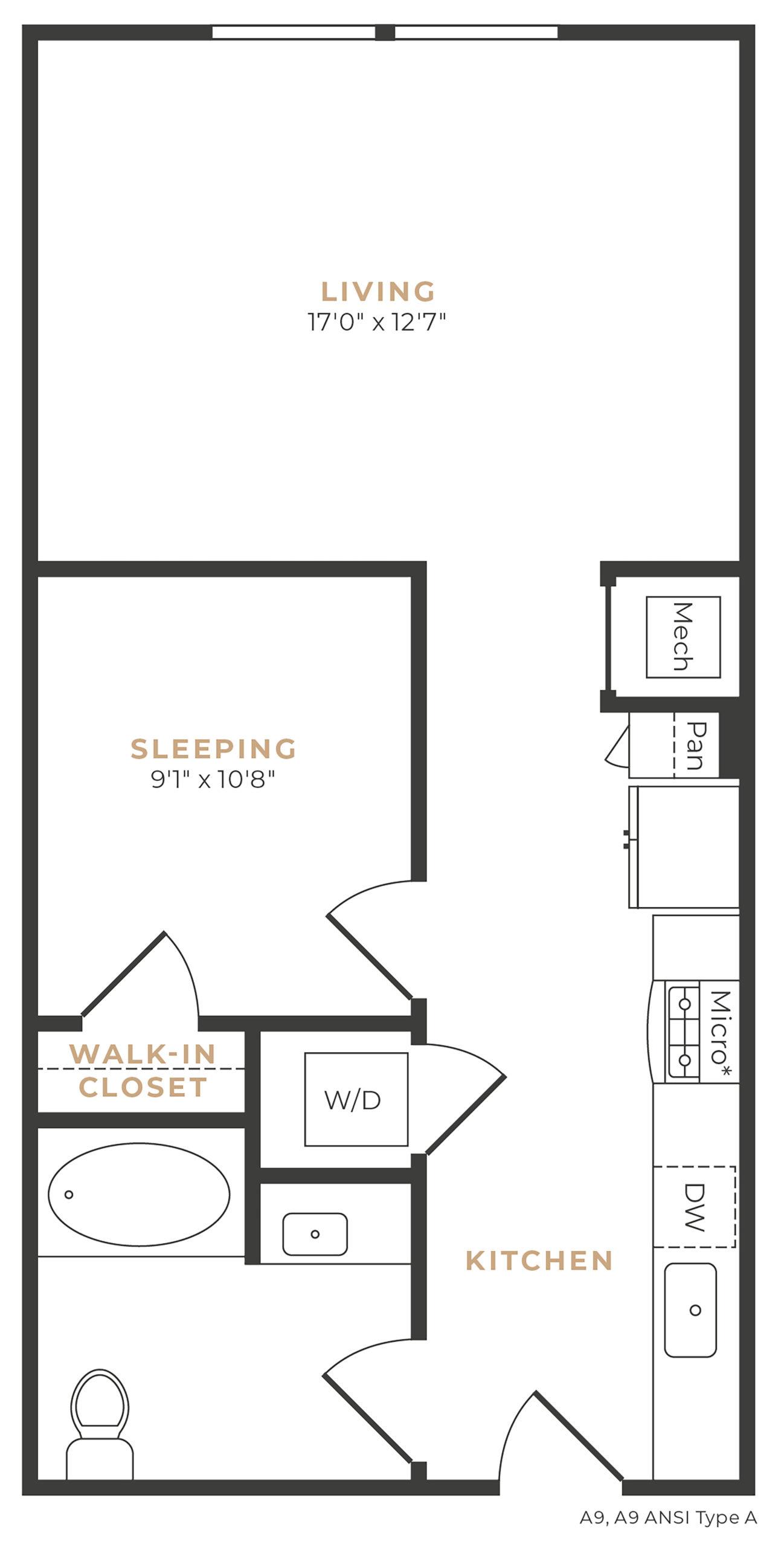 Alexan Memorial One Bedroom Efficiency Floor Plan E1