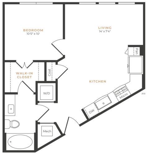 Alexan Memorial One Bedroom Floor Plan A1