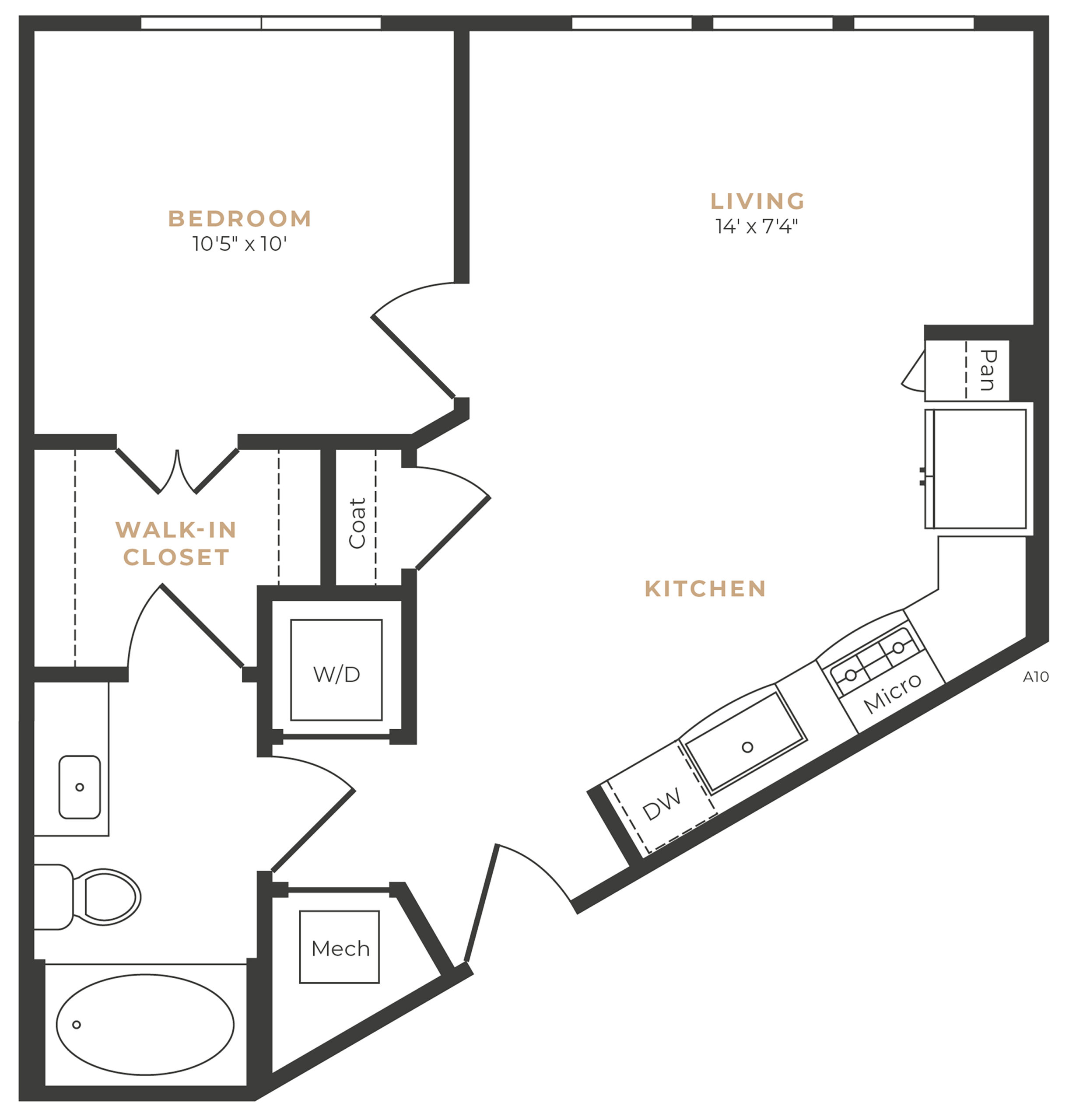 Alexan Memorial One Bedroom Floor Plan A1