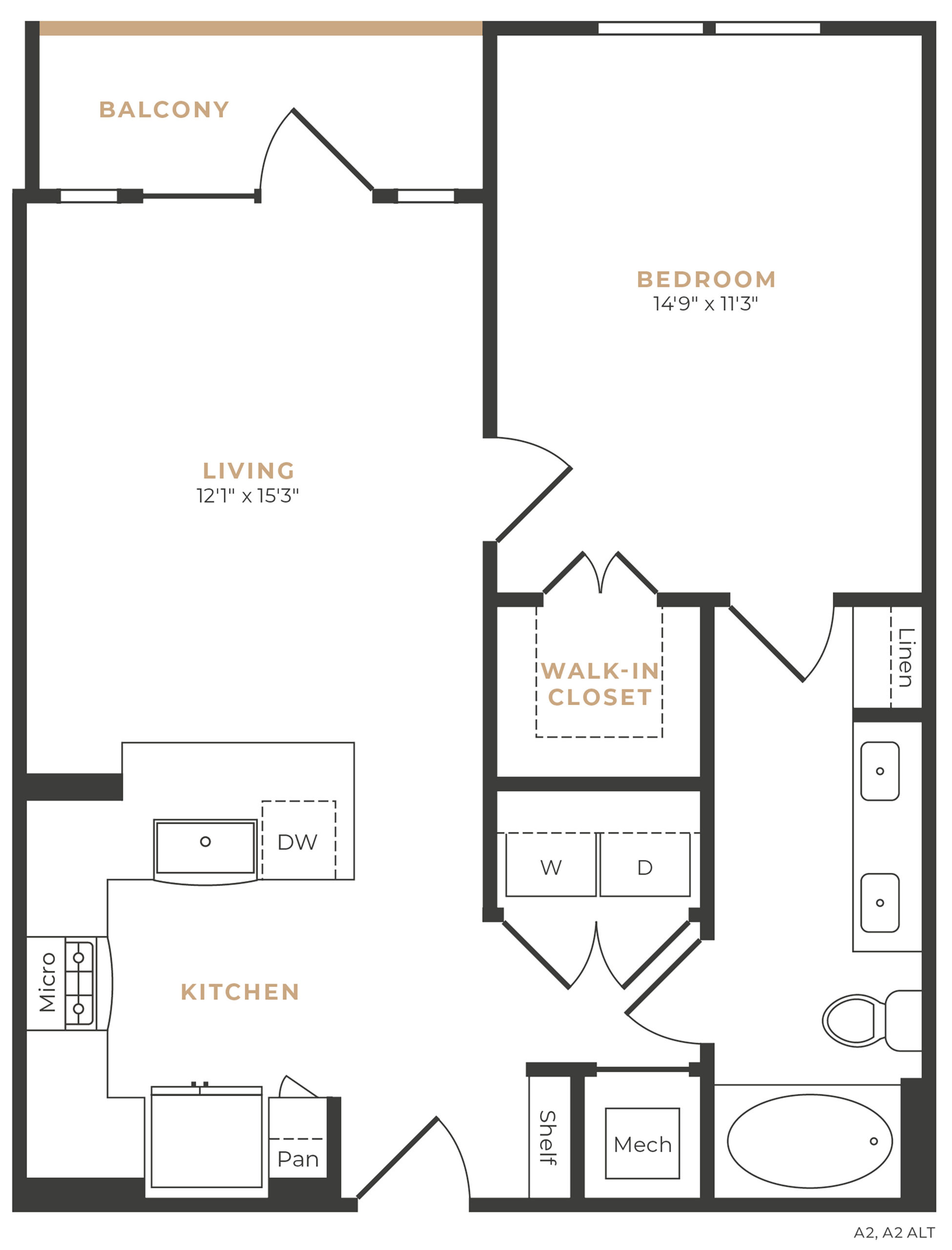 Alexan Memorial One Bedroom Floor Plan A10