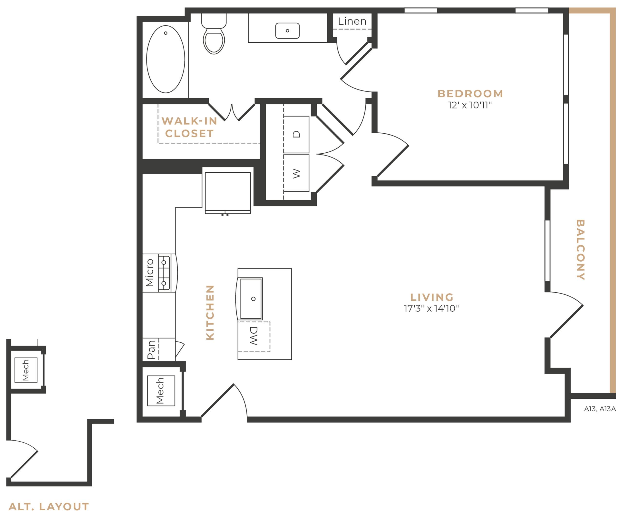 Alexan Memorial One Bedroom Floor Plan A11