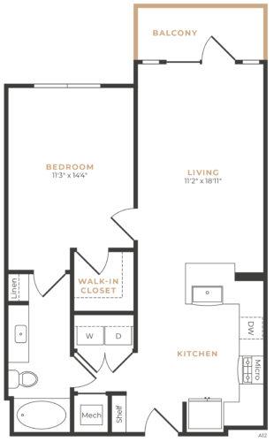 Alexan Memorial One Bedroom Floor Plan A12