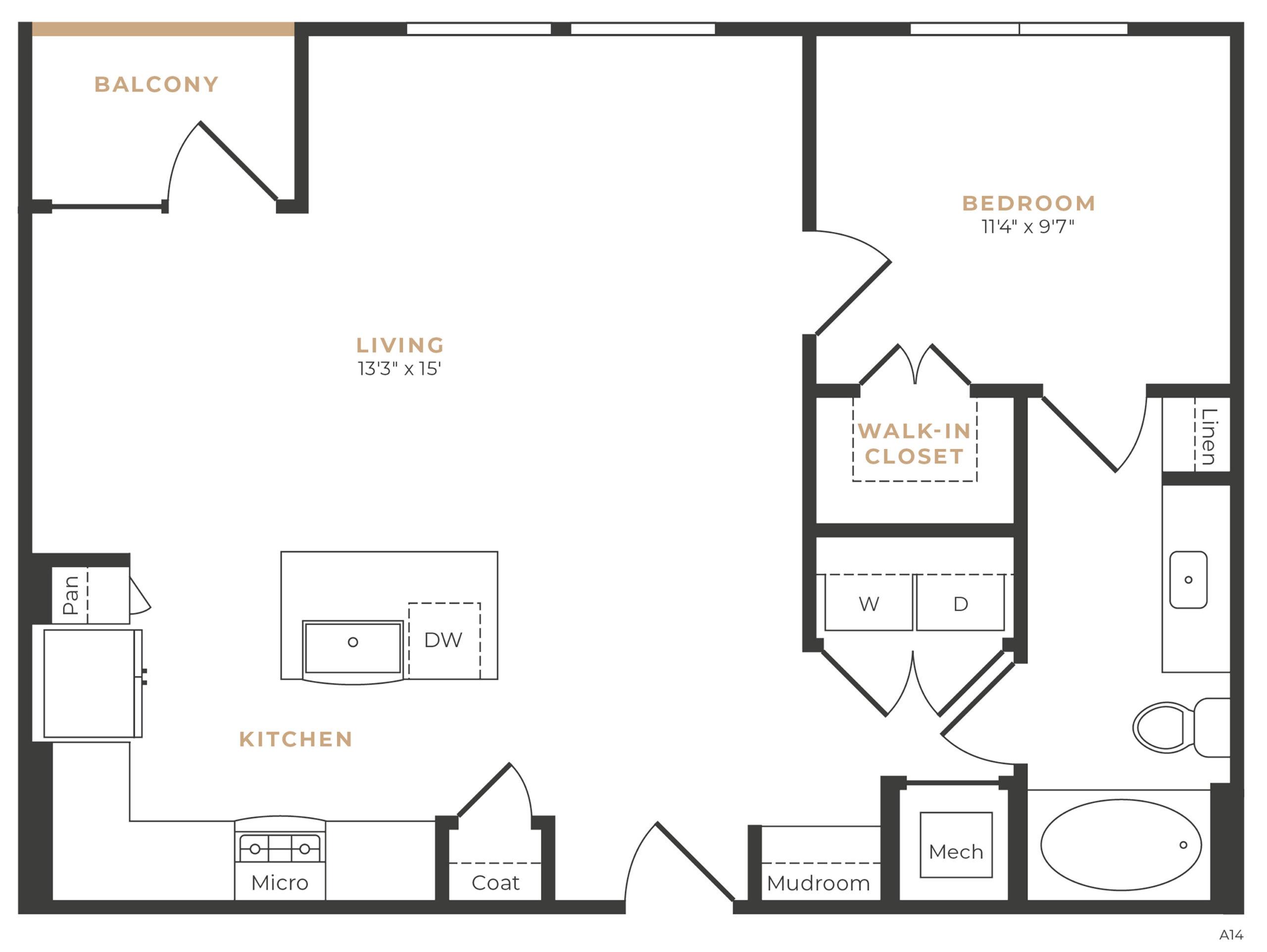 Alexan Memorial One Bedroom Floor Plan A13