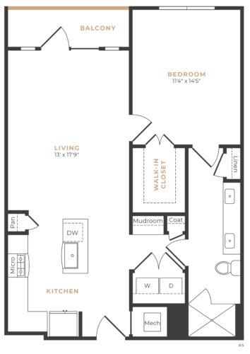 Alexan Memorial One Bedroom Floor Plan A14