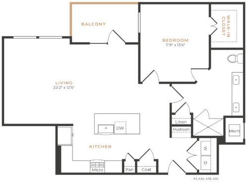 Alexan Memorial One Bedroom Floor Plan A15