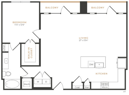 Alexan Memorial One Bedroom Floor Plan A16