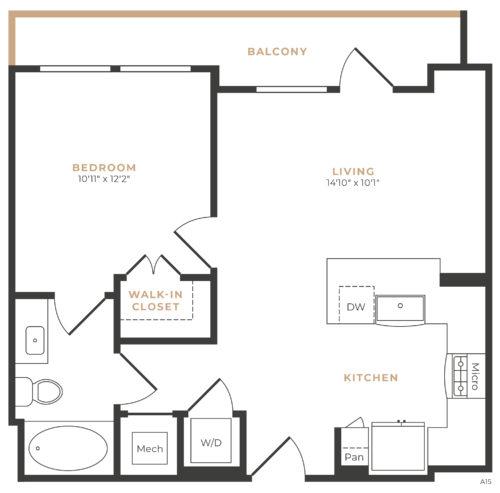 Alexan Memorial One Bedroom Floor Plan A2