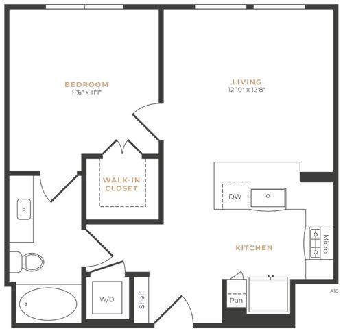 Alexan Memorial One Bedroom Floor Plan A3