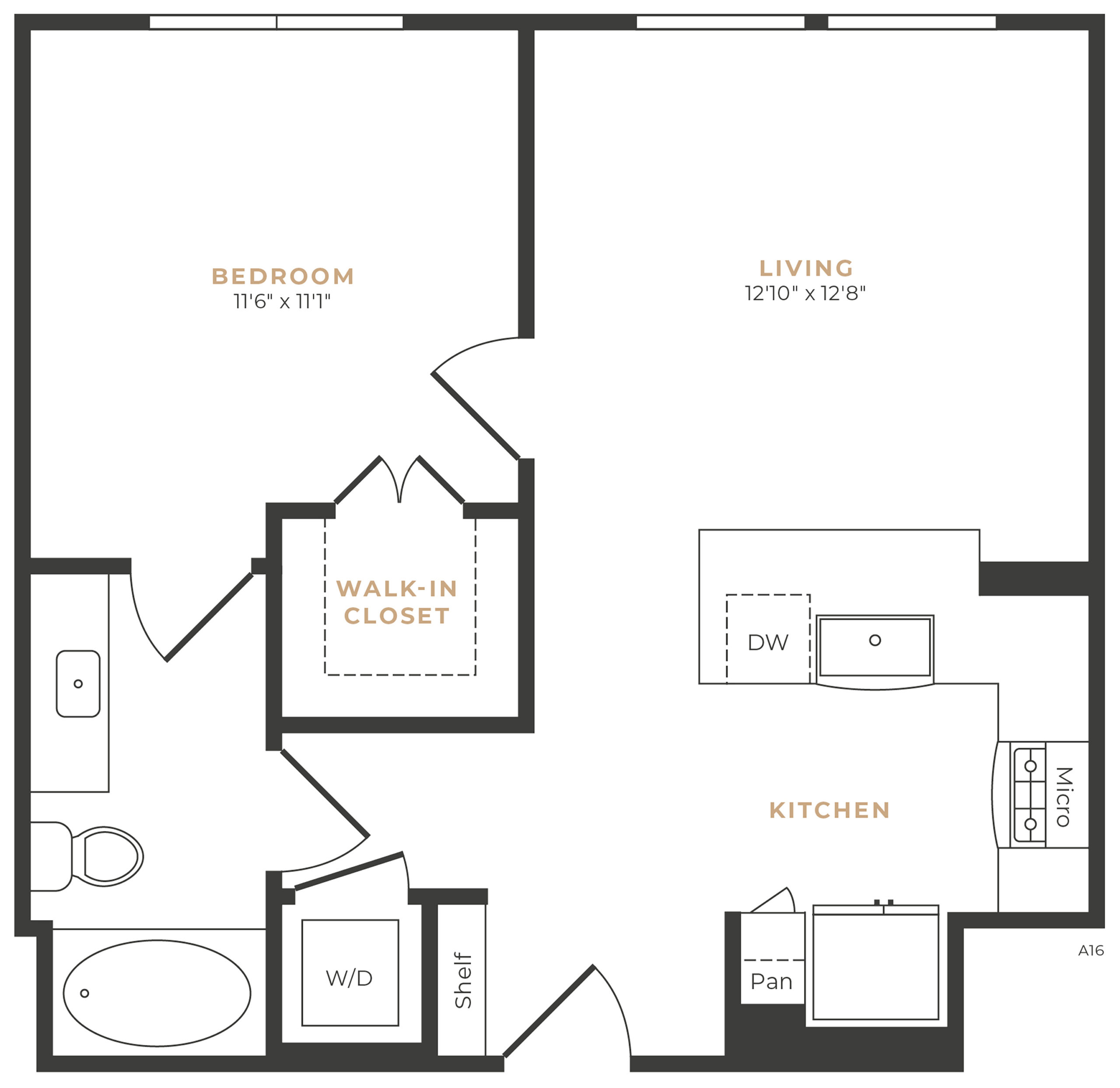 Alexan Memorial One Bedroom Floor Plan A3