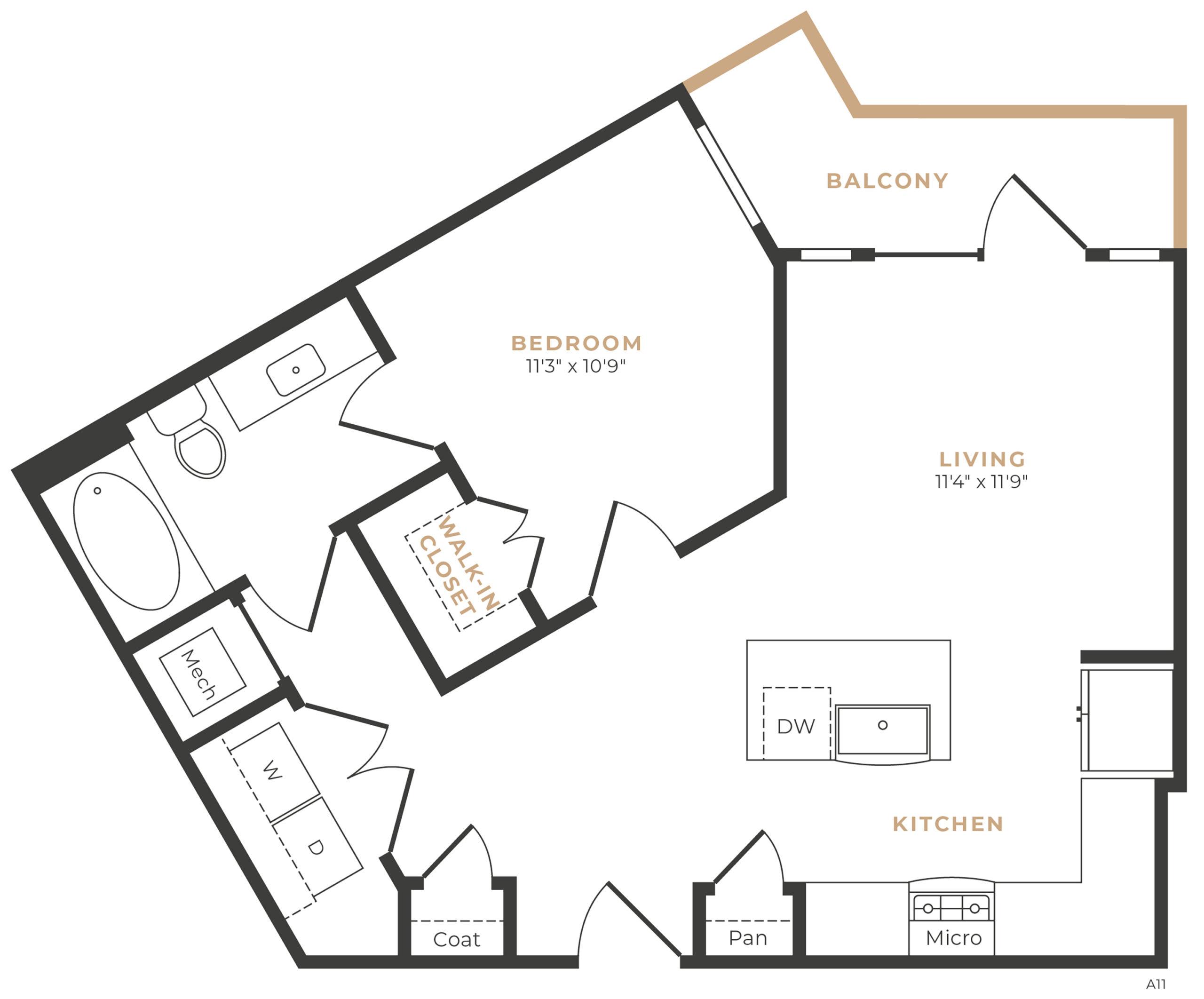 Alexan Memorial One Bedroom Floor Plan A4