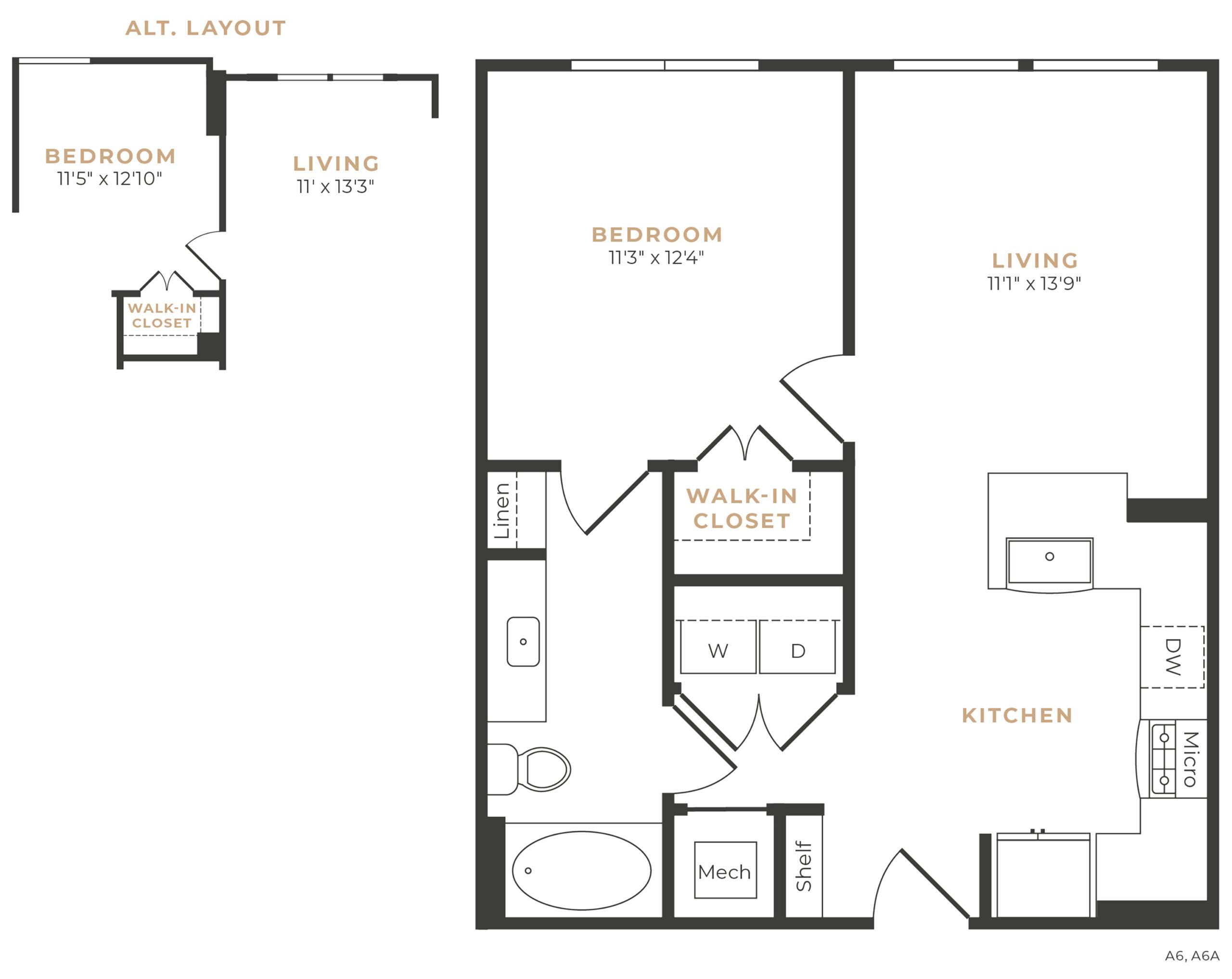 Alexan Memorial One Bedroom Floor Plan A5