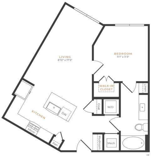 Alexan Memorial One Bedroom Floor Plan A6