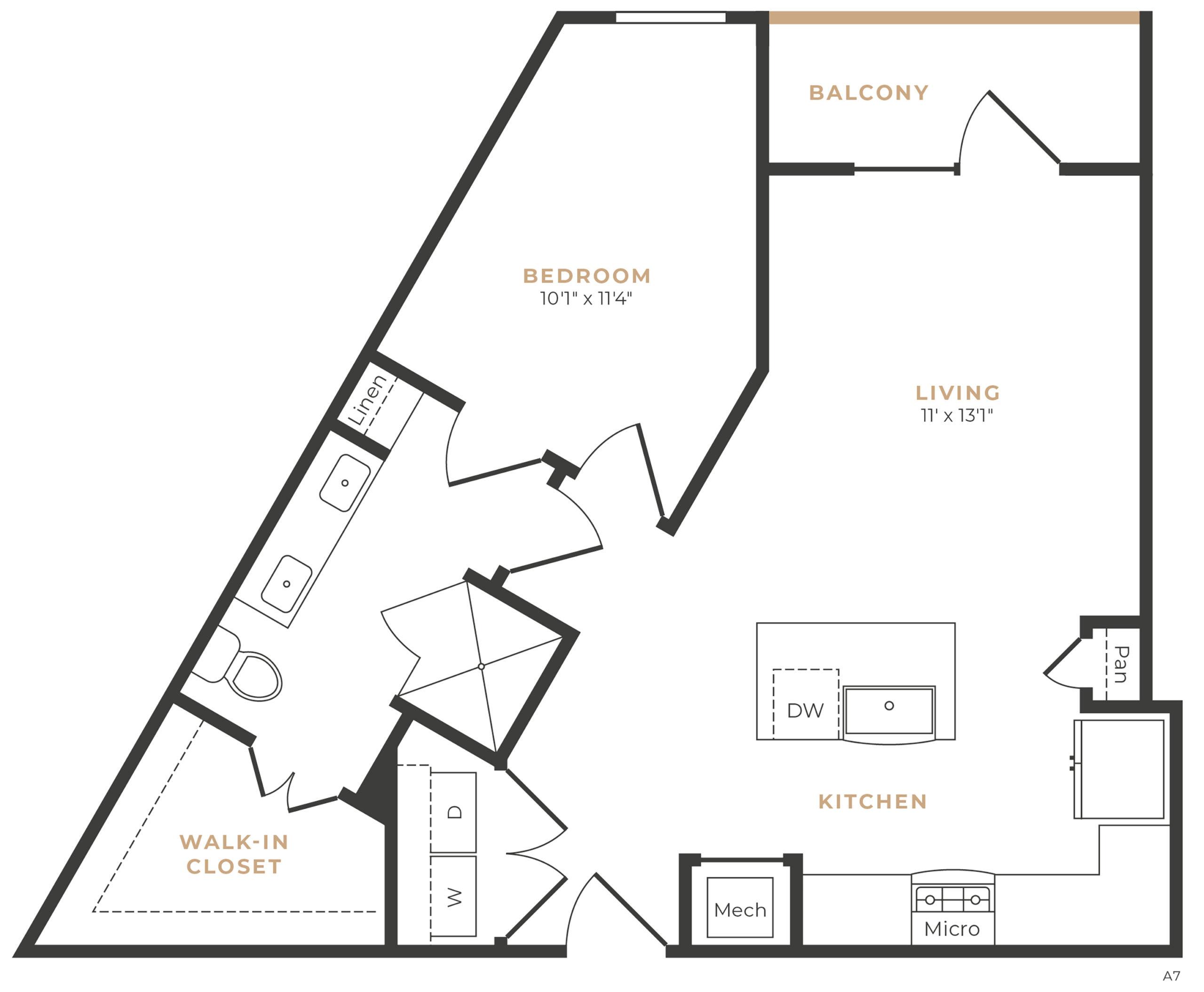 Alexan Memorial One Bedroom Floor Plan A7