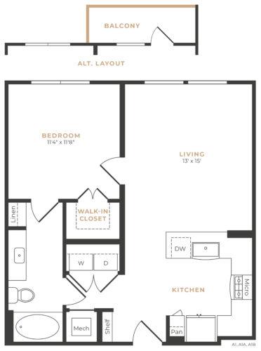 Alexan Memorial One Bedroom Floor Plan A8
