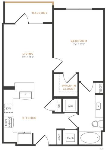 Alexan Memorial One Bedroom Floor Plan A9
