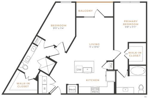 Alexan Memorial Two Bedroom Floor Plan B1