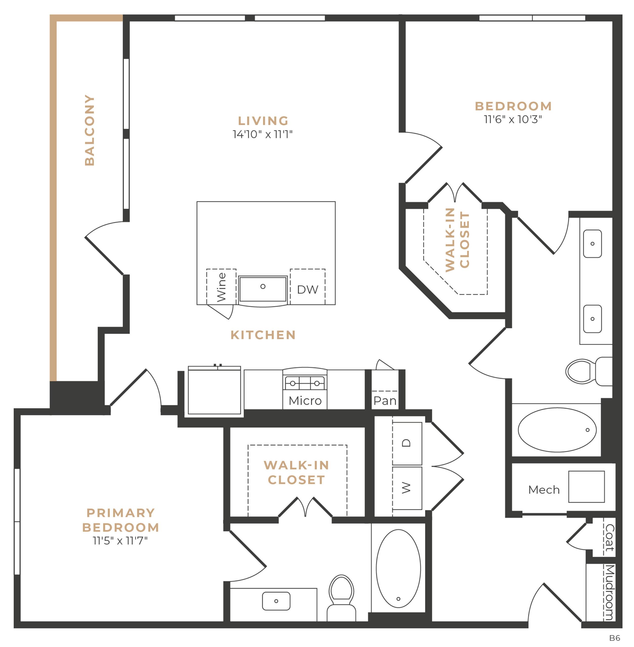 Alexan Memorial Two Bedroom Floor Plan B2