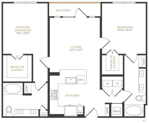 Alexan Memorial Two Bedroom Floor Plan B3