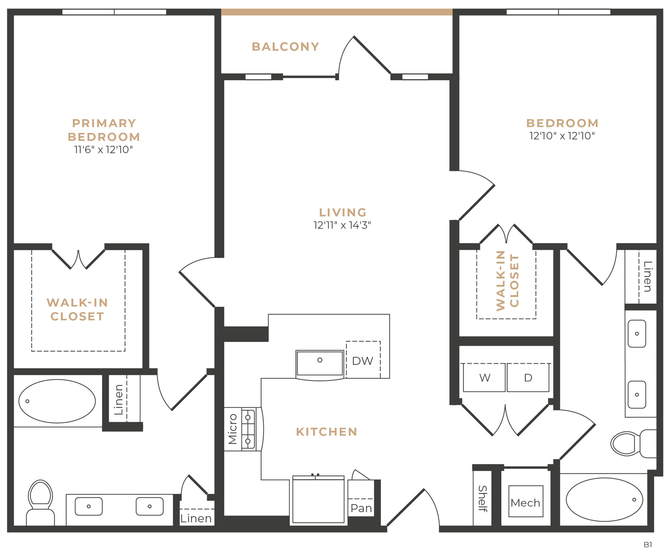 Alexan Memorial Two Bedroom Floor Plan B3