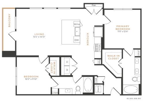 Alexan Memorial Two Bedroom Floor Plan B4
