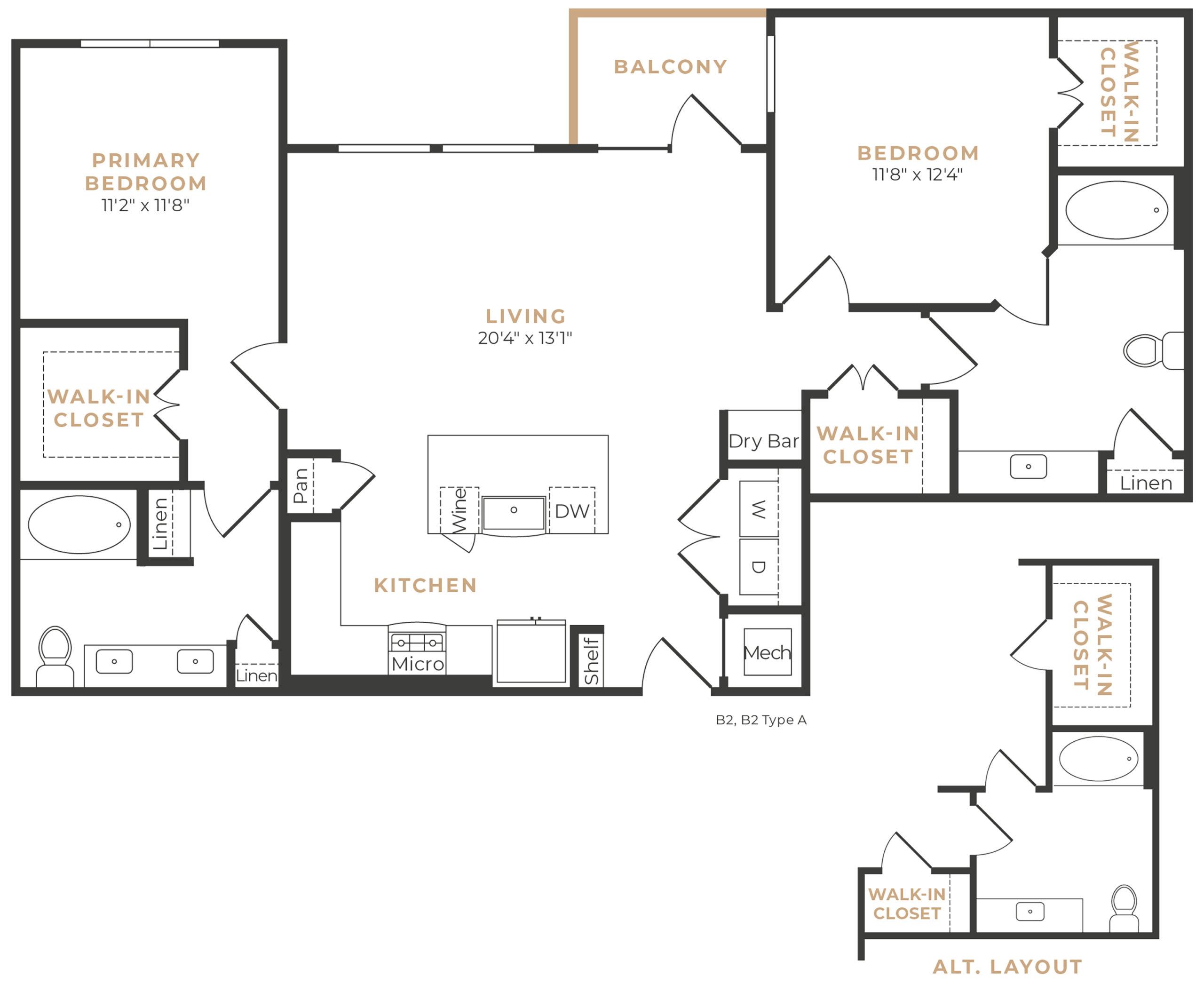 Alexan Memorial Two Bedroom Floor Plan B5