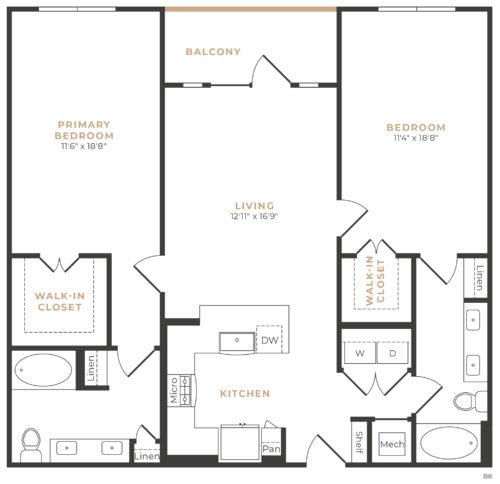 Alexan Memorial Two Bedroom Floor Plan B6