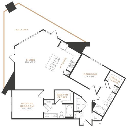 Alexan Memorial Two Bedroom Floor Plan B7