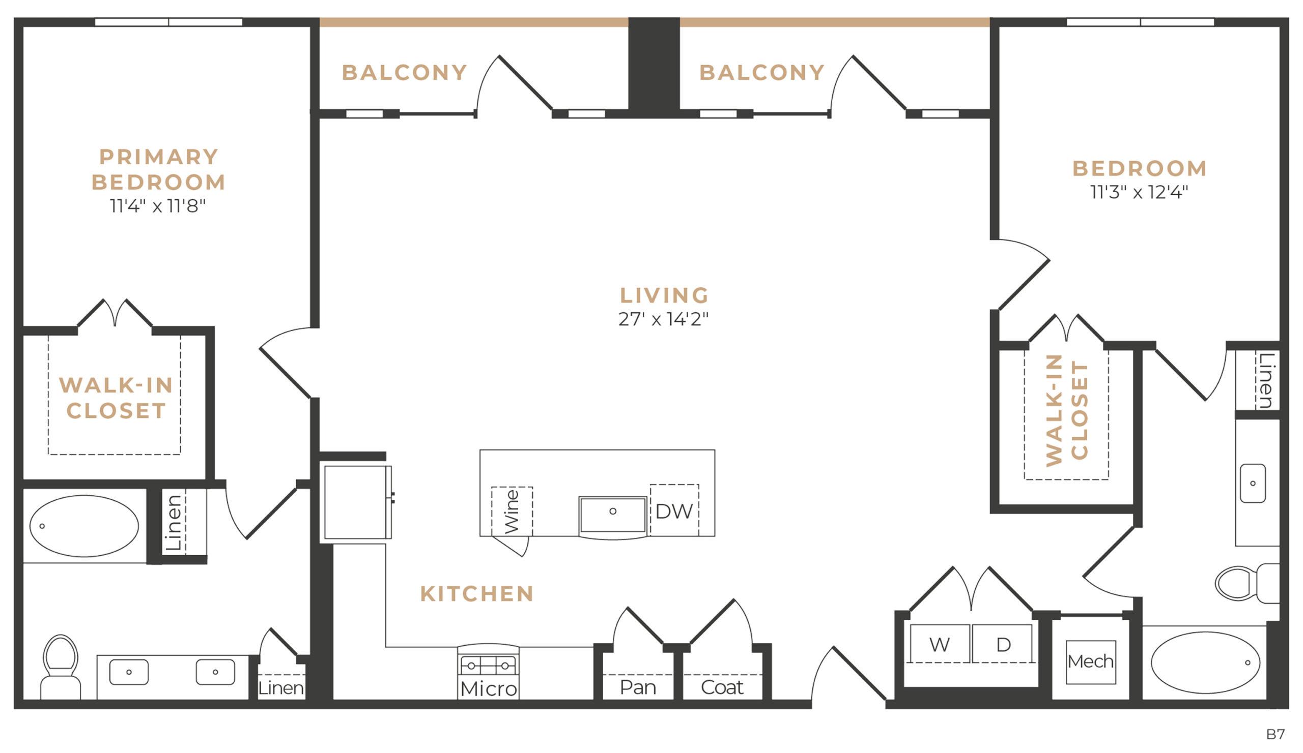 Alexan Memorial Two Bedroom Floor Plan B8