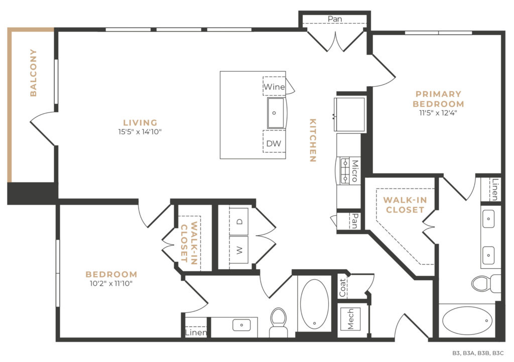 B4 two bed/two bath floorplan at Alexan Memorial - Two-Bedroom Luxury Apartments in Houston