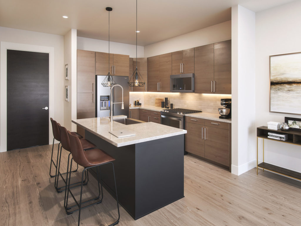 contemporary kitchen with stainless steel appliances - See the Sunny Side of Life at Alexan Memorial
